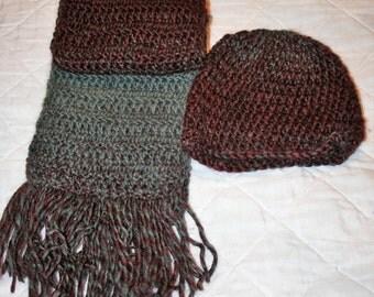 Crocheted Beanie & Scarf