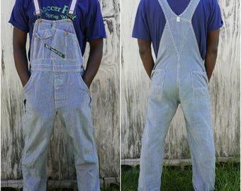 Vintage 70s/80s Key Imperial indigo blue and white stripes denim overalls - workwear - Size Medium Large