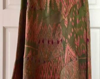 Vintage Silk Boho Skirt Handmade Thai Batik Pattern Green Pink Purple