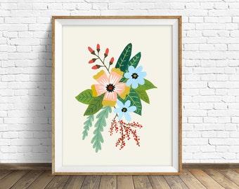 "floral art prints, flower wall art, folk art, instant download printable art, modern, contemporary, yellow, prints -""Folk Art Flowers No. 4"""