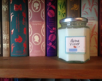 Soy Wax Jam Jar Candle Parma Violet Essential Oil Scent Handmade