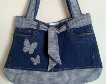 Bag jean & cotton with inner and outer pockets