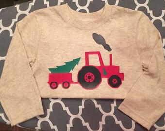Christmas tree tractor, Christmas shirt, boys Christmas shirt, Christmas, personalized gifts