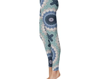 Ocean Blue Mandala Yoga Leggings - Mandala Print Tights, Blue and White Bohemian Leggings, Patterned Tights