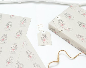 Simply Hearts Fashion Illustration Women Gift Wrapping Paper with Gift Tags