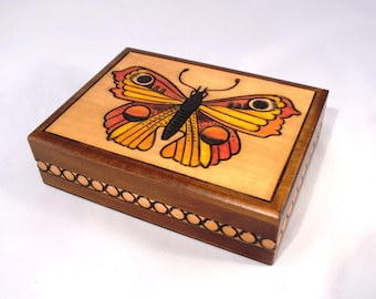 Handmade Wooden Box With Butterfly/ Jewellery Box/ Keepsake Box/ Trinket Box/ Storage Box