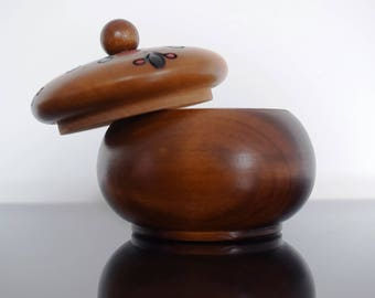 Wooden Bowl with Lid/ Round Wooden Box/ Jewelery Box/ Wooden Trinket Box/ Hand Carved Bowl with Lid