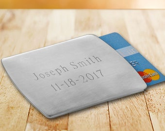 Personalized Card Holder - Engraving Stainless Steel Card Holder - Gifts for Him - Father's Day - Groomsmen gifts - Executive Gifts.
