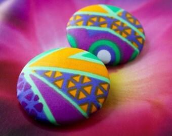 Vibrant Ankara button earrings (Large)