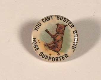 "Rare Original Buster Brown Advertising Pinback, Antique 3/4"" Pin with Whitehead & Hoag Co. Back Paper"