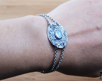 Silver bracelet Artisan bracelet handmade jewelry Moonstone jewelry