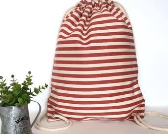Stripe canvas backpacks Canvas backpack Drawstring backpack Canvas drawstring backpack Drawstring bag Hipster backpack White off Pink strip