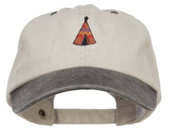 Teepee Tent Embroidered Washed Two Tone Cap