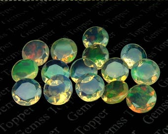 5mm ethiopian opal faceted round - calibrated size Awesome Strong Flashy multi fire welo opal AAA quality natural loose gemstone - FOR ONE