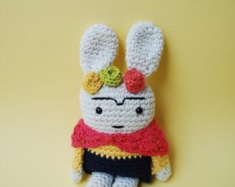 Frida Kahlo rabbit, rabbit amigurumi, crochet, rabbit amigurumi, Frida Kahlo, toy, flowers and Bunny crochet, ready for shipping, gift,