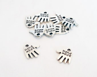 """BCP123 - 2 charms money hand imprint engraving """"Hand Made"""" / 2 Pieces miniature Silver """"Hand Made"""" Shape Double-Sided Pendants Charms"""