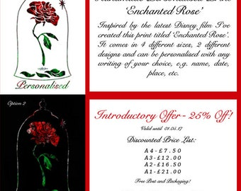 Handmade Personalised Print 'Enchanted Rose'