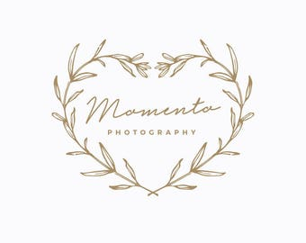 "Premade Logo Design - Boutique Logo, Heart, Branches, Simple, Modern, Photographer Small Business, Branding - ""Momento"""