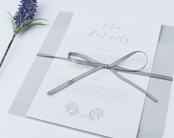 Elegant Stylish Wedding Invitation Set -  Grey Wedding Invite - Wedding Stationery - Invitation Suite - Save the Date, RSVP,