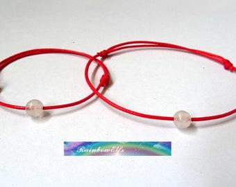 Red string and gemstone bracelet set. Mom and me bracelets. Mother and daughter bracelet set. Protection bracelets. Kabbalah bracelet.