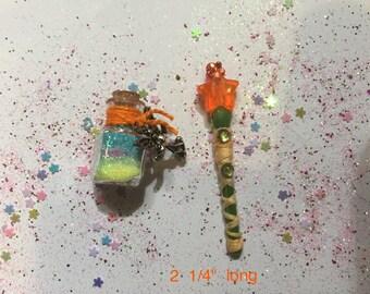 Miniature fairy wand & fairy dust set, Miniature Fairy Wand, Miniature Fairy Dust, Miniature Wand, Pixie Dust, Orange Fairy Wand