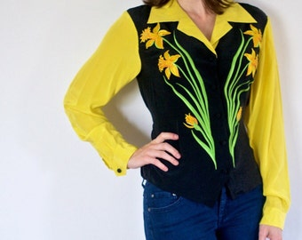 SALE!! Daffodil Blouse - Bob Mackie Wearable Art - Embroidered Buttercup