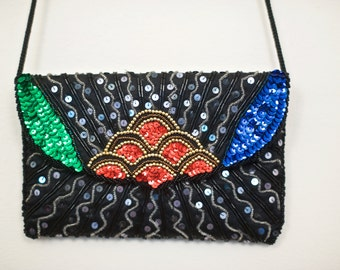 1980s Beaded Crossbody Purse | Sequins and Color