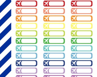 Airplane Labels, Premium Matte Vinyl, Planner Stickers, Removable, Repositionable, Reusable, For ECLP & Other Planners, Vinyl Sticker