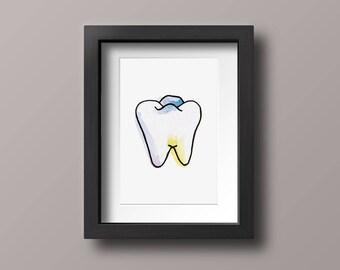 Watercolor Tooth Print, Bathroom Wall Art, Hand Drawn Illustration