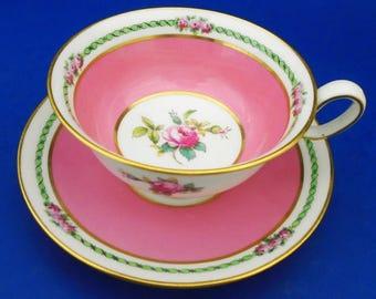 Spode Copeland rose art deco Tea cup and saucer pink rose center