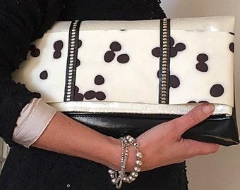 SHINING SEQUIN CLUTCH BAG ivory, black leather and Alcantara Dalmatian print-rectangular bag and hand & wrist-Chic Fashion