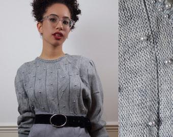 vintage pearl sweater | 80s grey jumper | embellished size S M
