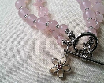Rose Quartz, Swarovski Crystal and Sterling Bracelet