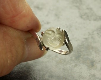 Moonstone Silver Ring, Carved Man in the Moon Sterling Silver Ring, Carved Moonstone