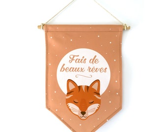 "Decorative flag, ""sweet dreams"", Fox, Star"