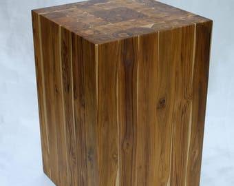 Teak Wood Block Stool in Ring Pattern