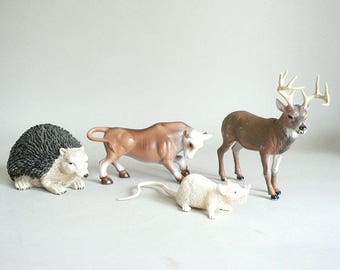 Childs Toy Animals Deer Bull Hedgehog Mouse