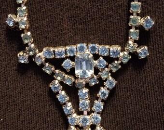 Vintage Light Blue Rhinestone Necklace / FREE SHIPPING within U.S.