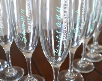 Personalized Champagne Flutes, Unqiue Bridesmaid Gifts, Champagne Flute Sets