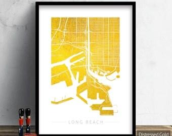 Long Beach Map - City Street Map Long Beach, California - Art Print Watercolor Illustration Wall Art Home Decor Gift - Colour Series PRINT