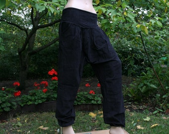 Corduroy harempant with pockets S-L bloomers psy goa gipsy bohemian tribal ethnic black grey