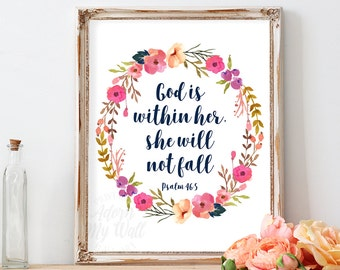 God Is Within Her She Will Not Fall, Psalm 46:5, Bible Verse Quotes, Scripture Art, Girl Nursery Wall Art Decor, Instant Download, Printable