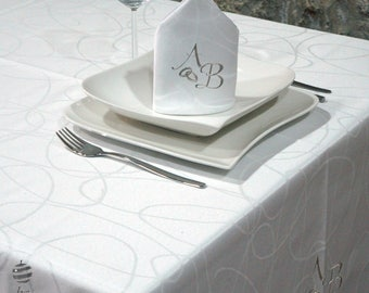 Luxury Wedding & Weddings Anniversary Silver Personalized Monogram Tablecloth -  Ref. Lines
