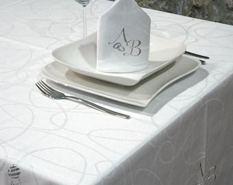 Luxury Wedding & Weddings Anniversary Silver Personalized Monogram Tablecloth -  Ref. Lines