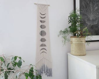 Moon Phase Macrame  Wallhanging, Gift for Her,  Boho Decor, Natural Cotton,  Block Print with Black ink, Dip dye