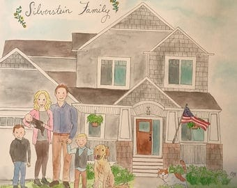 """Custom 9""""x12"""" Watercolor Home or Temple Family Portrait"""