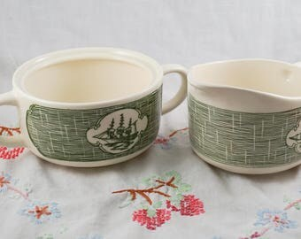 Vintage Currier and Ives Green by Scio RYL 112 Cream and Sugar