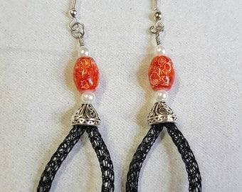 Singe Weave Viking Knit Earrings.