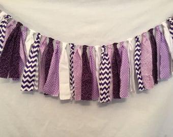 Purple Fabric Garland/Rag Tie Banner/Purple Wedding Decorations/Country Wedding Decor/Baby Shower Decor/Bridal Shower Decor/Fabric Banner