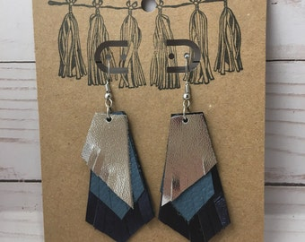 Tri-Color Metallic Leather Earrings Blue, Silver